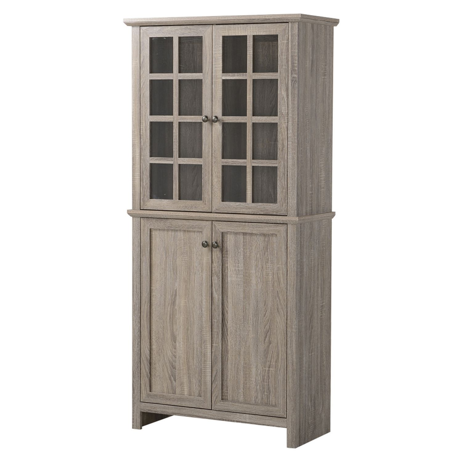 Homestar 2 Door Glass Storage Cabinet in Reclaimed Wood | Walmart ...