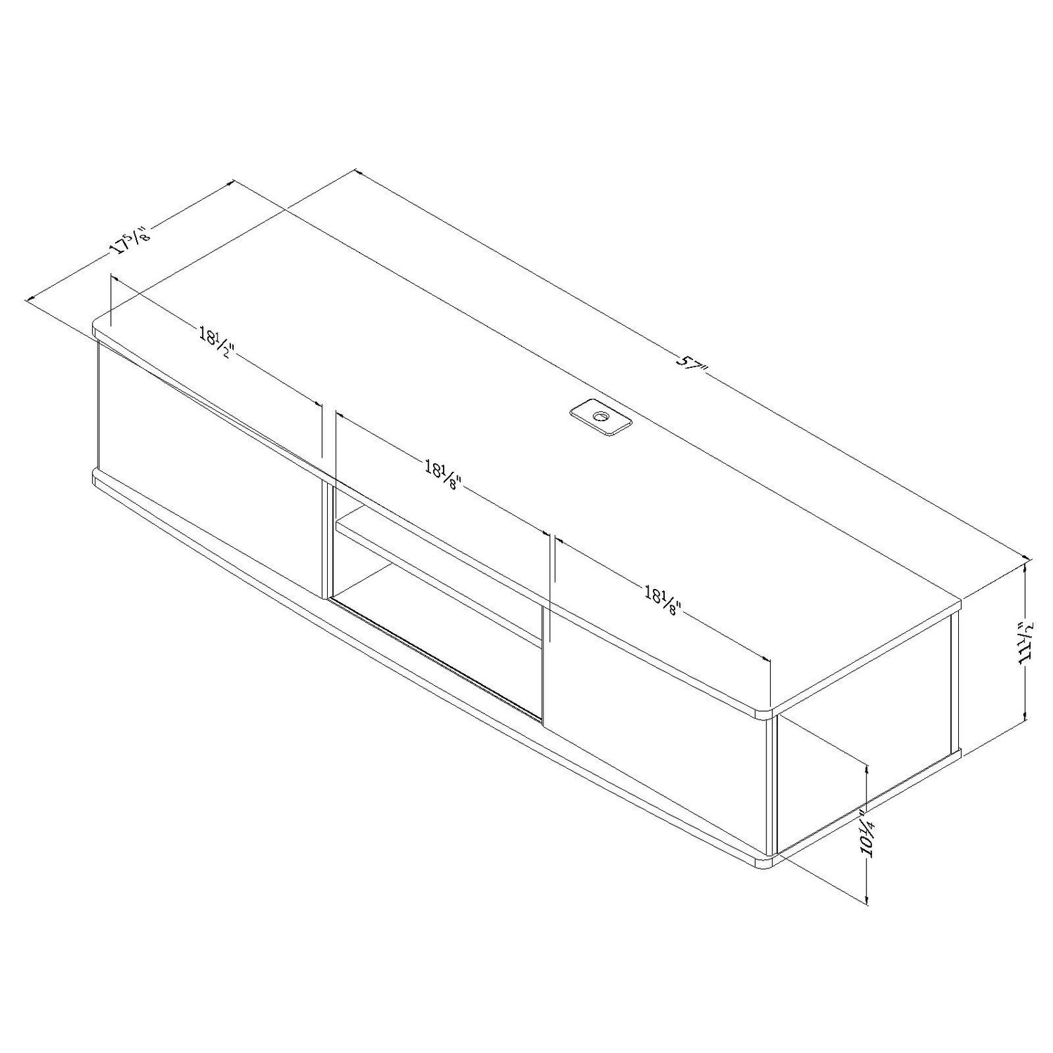 South Shore Agora Wide Wall Mounted Media Console 56 inch