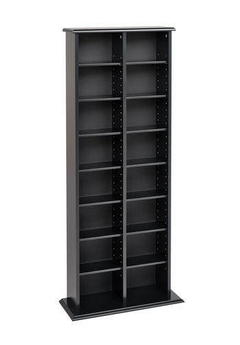 Double Multimedia Storage Tower Black