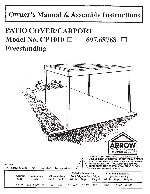 Arrow Attached Eggshell Carport Patio Cover Walmart Canada
