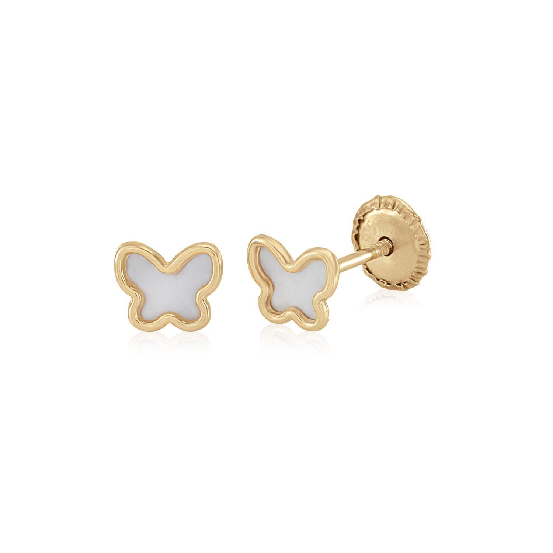 Boucles doreille en forme de fleur pour b/éb/é fille en or jaune 18 carats avec perle 5mm