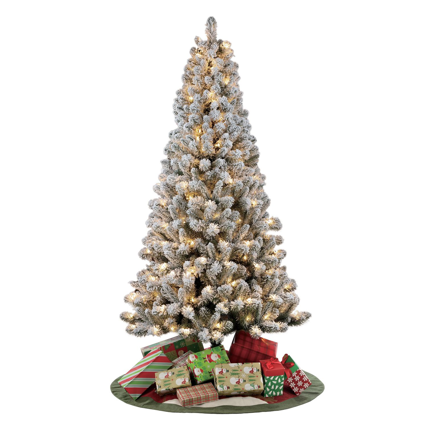 Holiday Time 6 5 Pre Lit Flocked Frisco Pine Christmas Tree White Walmart Canada