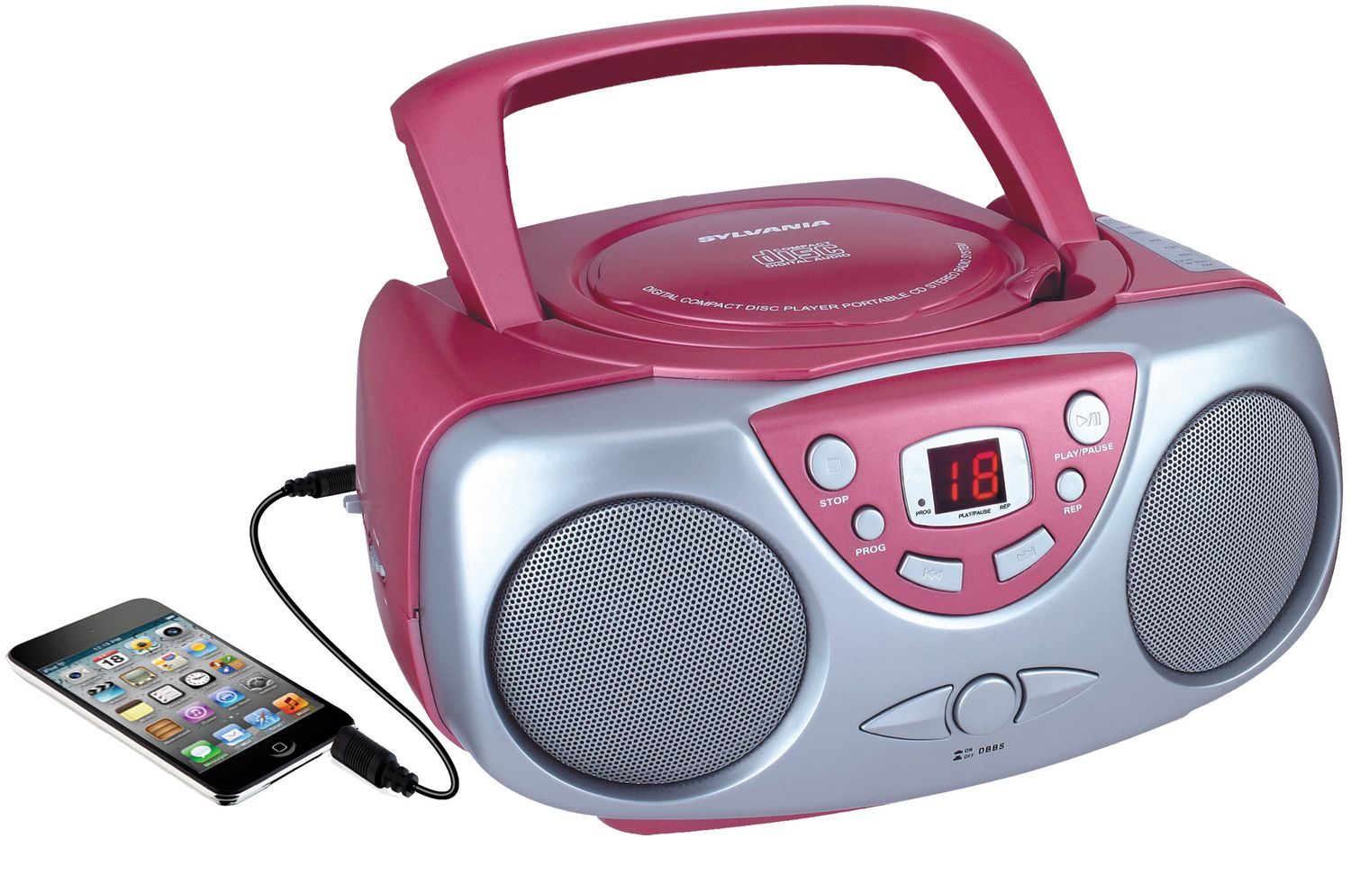 sylvania portable cd player with am fm radio pink walmart canada. Black Bedroom Furniture Sets. Home Design Ideas