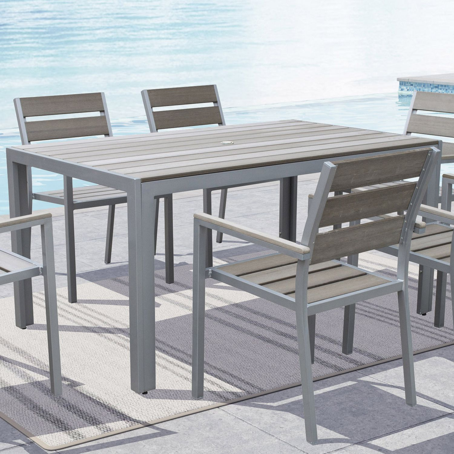Patio furniture cushions 22 inches round free home design ideas - Corliving Pjr 572 T Gallant Sun Bleached Grey Outdoor Dining Table