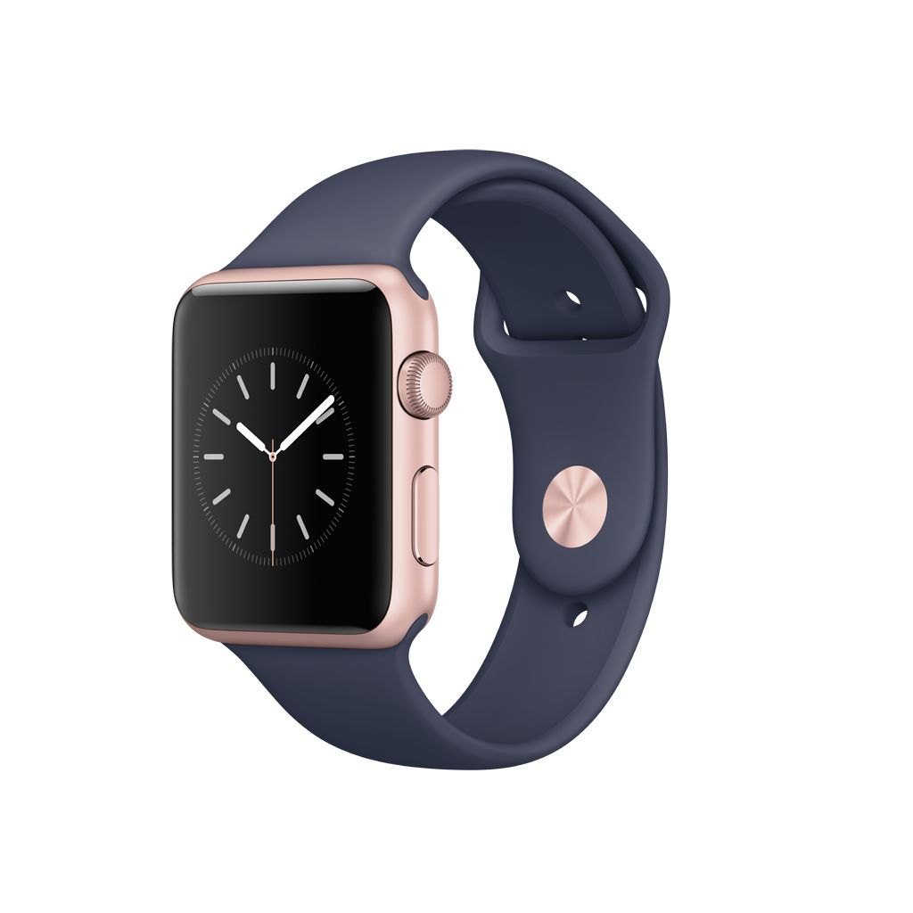 c1f7396bec7334 Apple Watch Series 1 42mm Rose Gold Aluminum Case with Midnight Blue Sport  Band - image zoomed image
