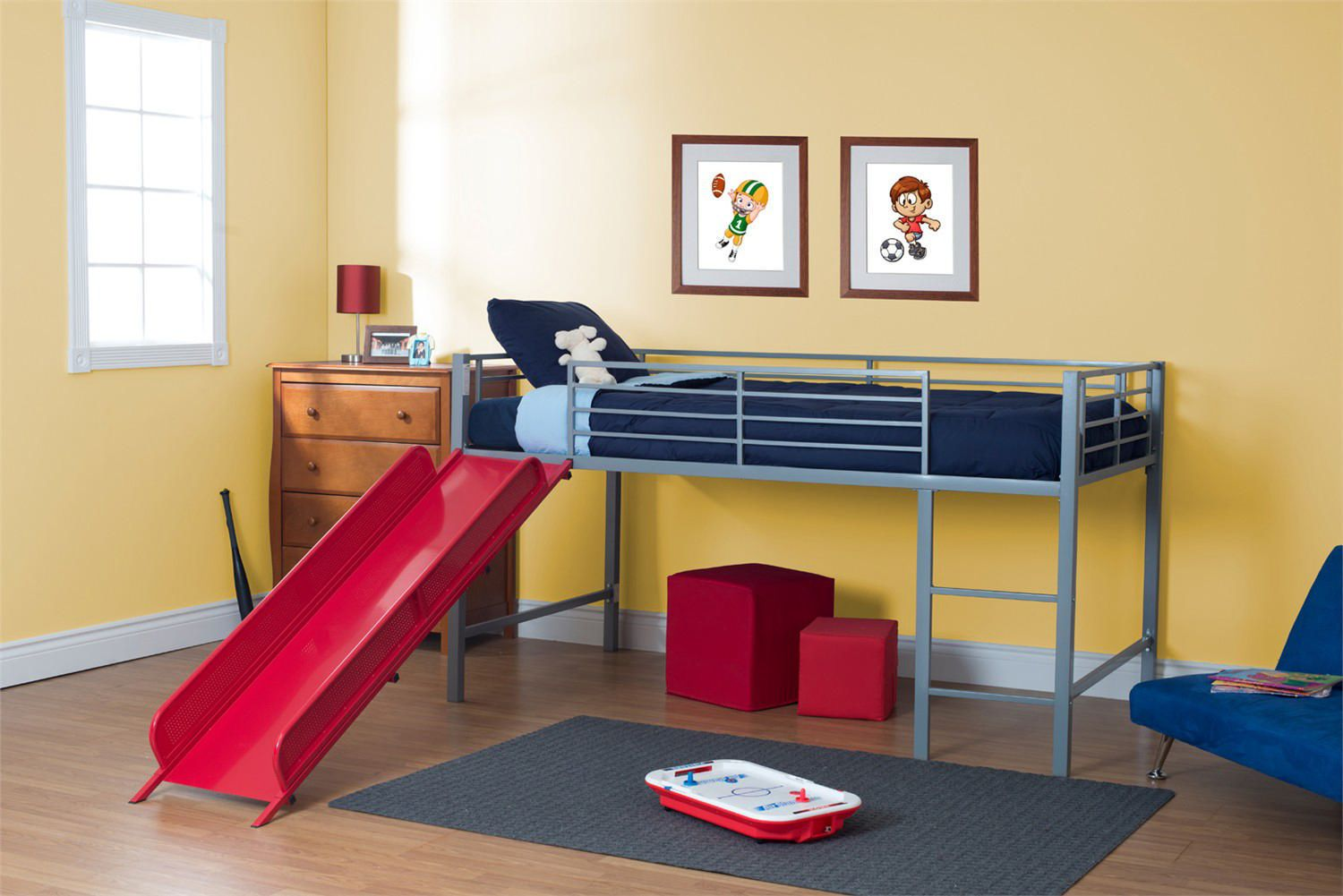 DHP Kids Twin Loft Slide Bed
