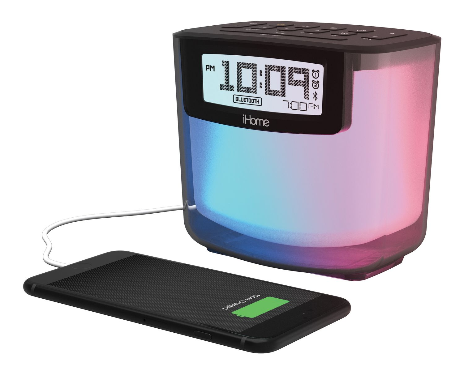 iHome iBT280 Bluetooth Color Changing Dual Alarm Fm Clock Radio with ...
