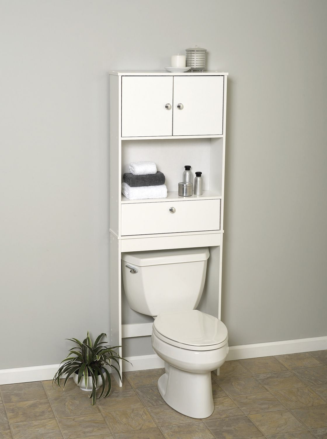 Walmart bathroom storage - Mainstays White Wood Spacesaver With Cabinet And Drop Door Walmart Canada