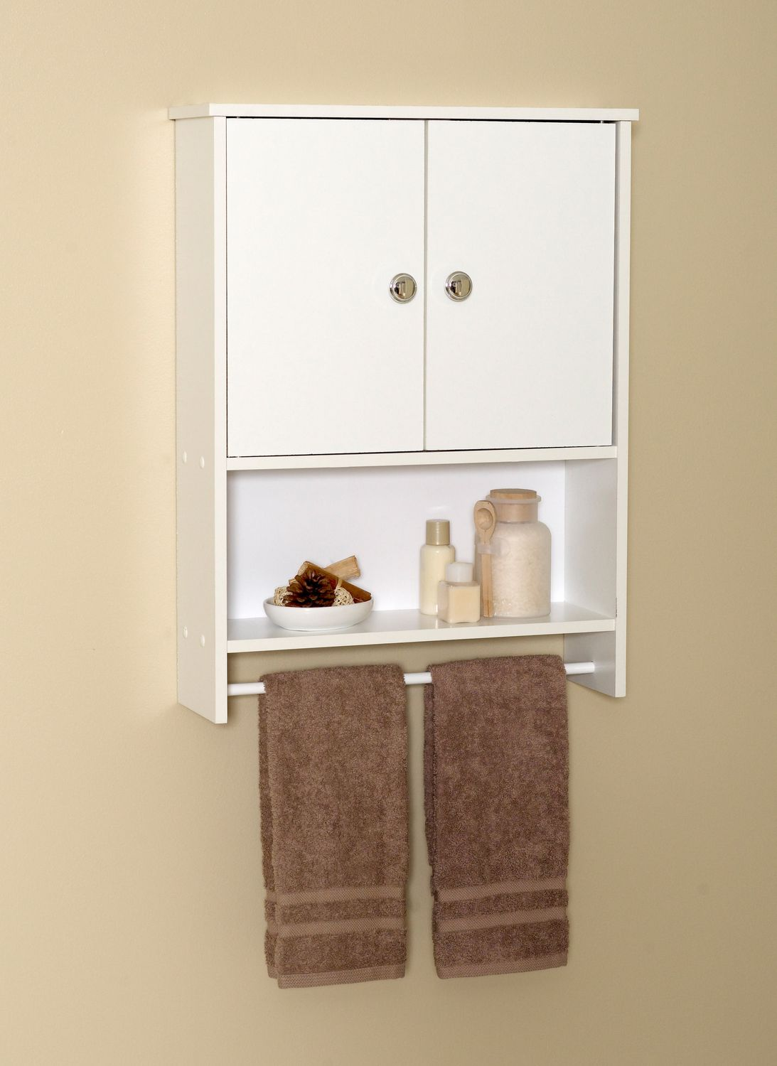 ce02489b8d0 MAINSTAYS White Wood 2-Door Wall Cabinet - image 1 of 3 zoomed image