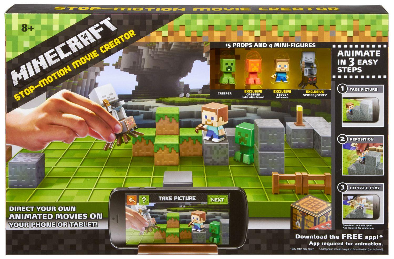 Includes 4 Mini Figures Minecraft Stop Motion Movie Creator