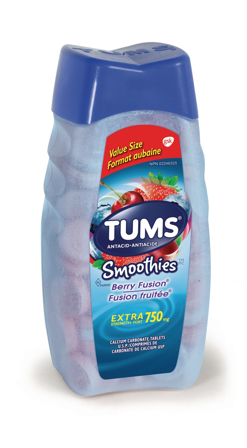 tums extra strength 750mg smoothies antacid for heartburn relief