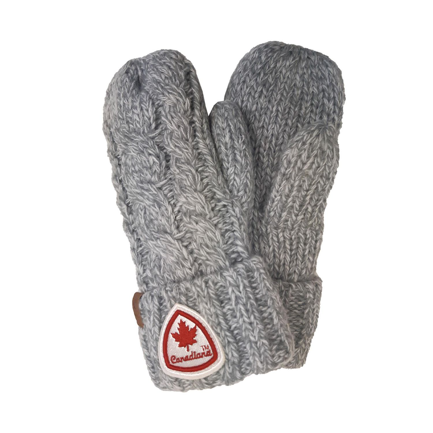 Grey cuffed mittens with sherpa lining and Canada patch on cuff