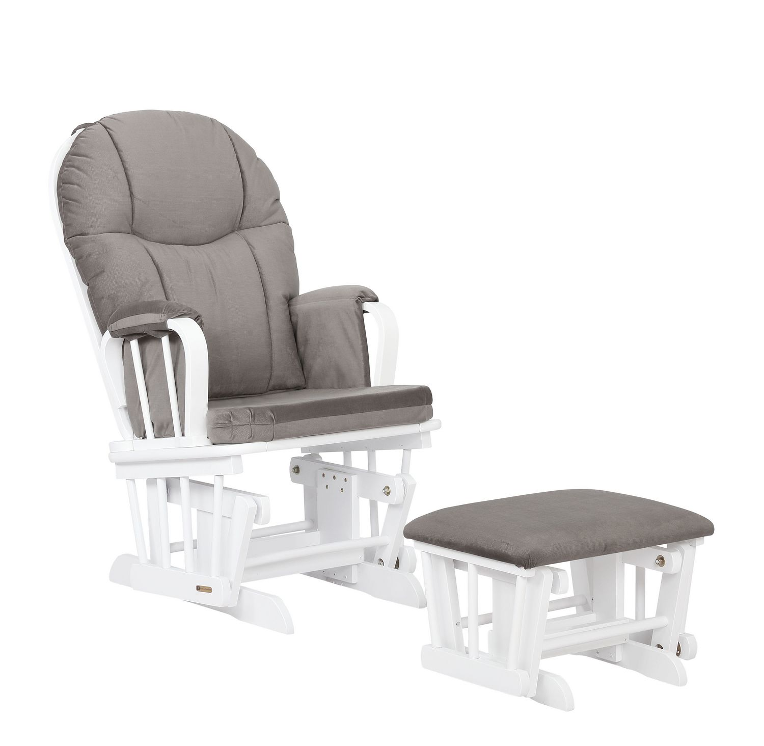 Lennox Aurora Glider Rocker Chair And Ottoman Combo White With Dark Grey