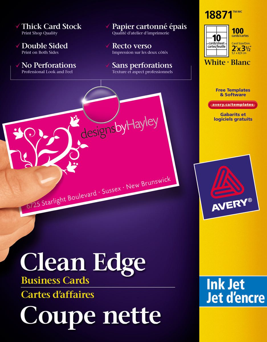 Avery® Two-Side Printable Clean Edge™ Business Cards for Inkjet ...