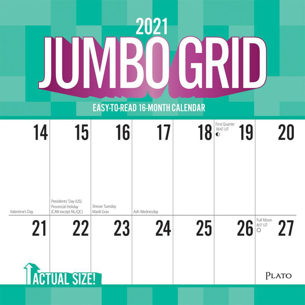 Jumbo Grid Large Print 2021 12 x 12 Inch Monthly Square ...