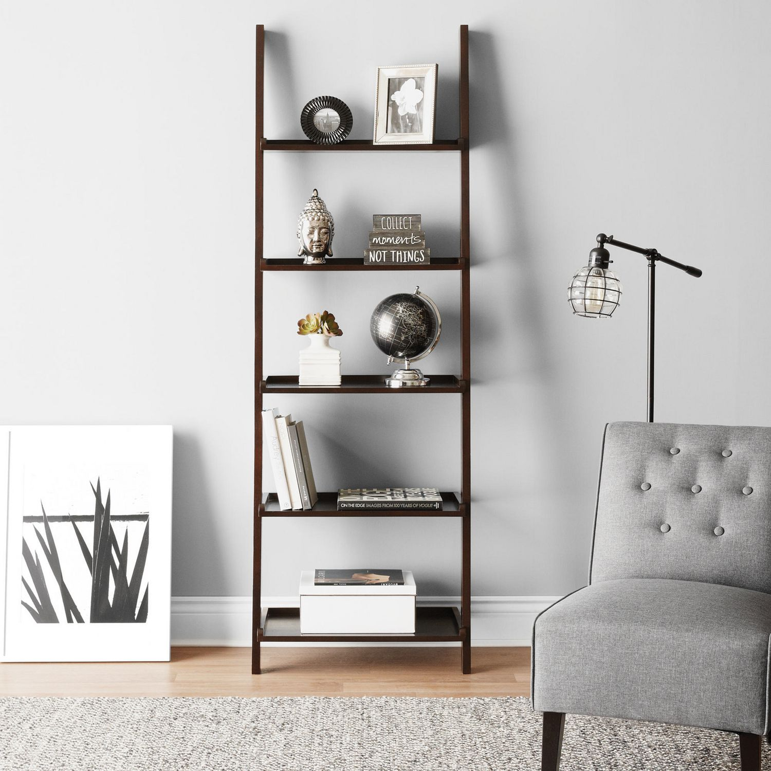 Hometrends 5 Tier Solid Wood Espresso Leaning Bookcase