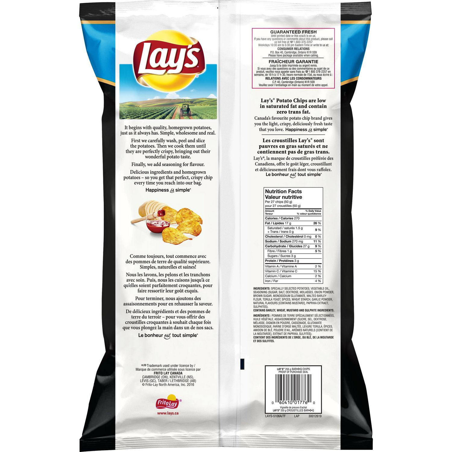lay's bar-b-q potato chips | walmart canada