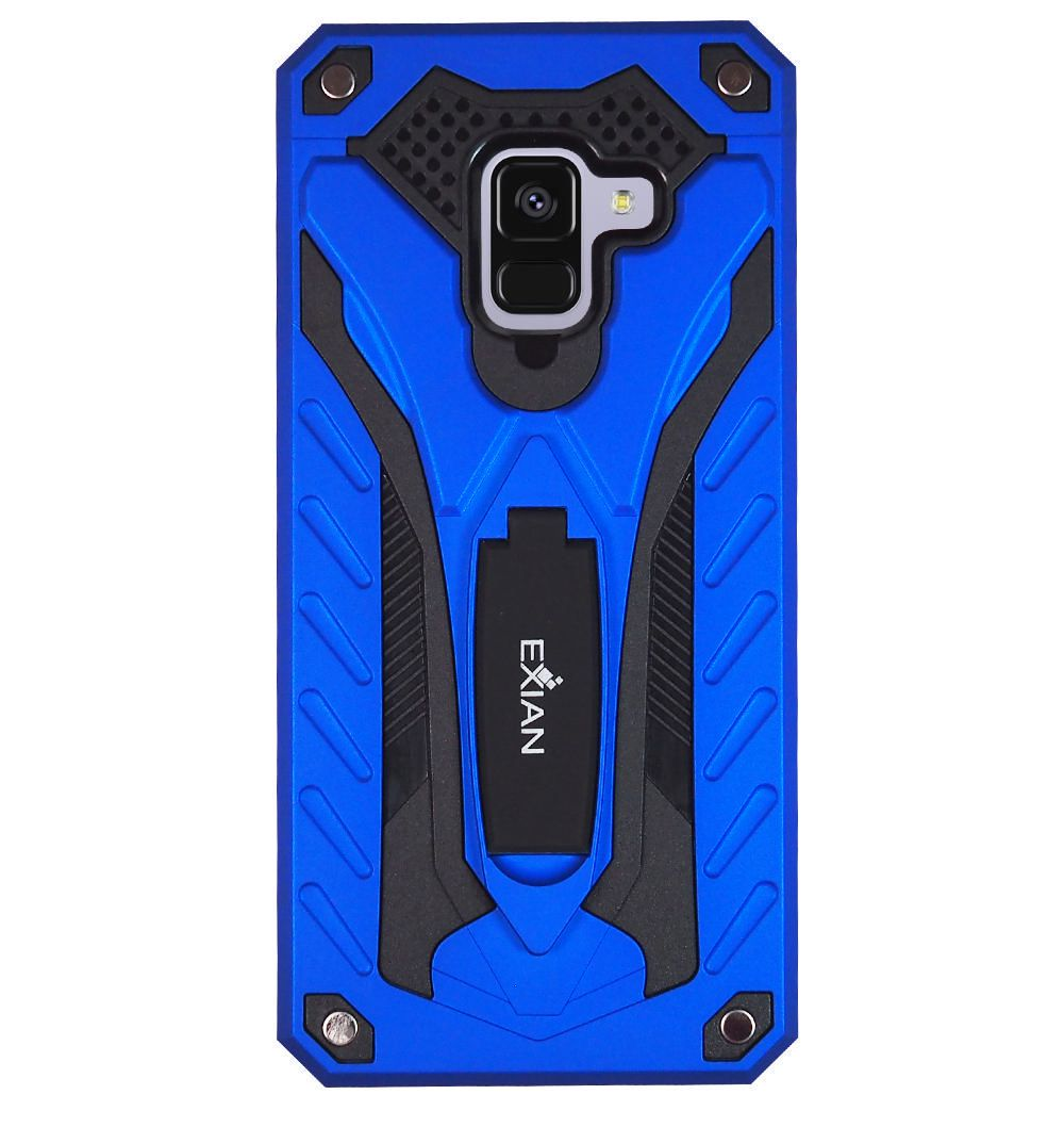 the best attitude c9522 2ab3b Exian Samsung Galaxy A8 2018 Screen Protectors X 2 and Armored Case with  Stand Blue