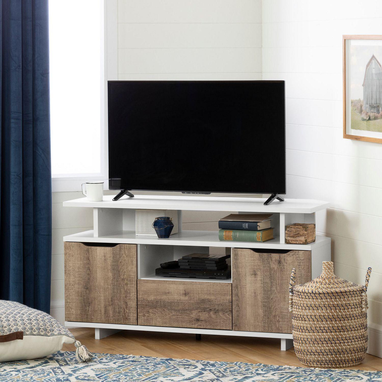 Quelle Hauteur Meuble Tv meuble tv en coin reflekt, blanc et chêne vieilli de meubles south shore