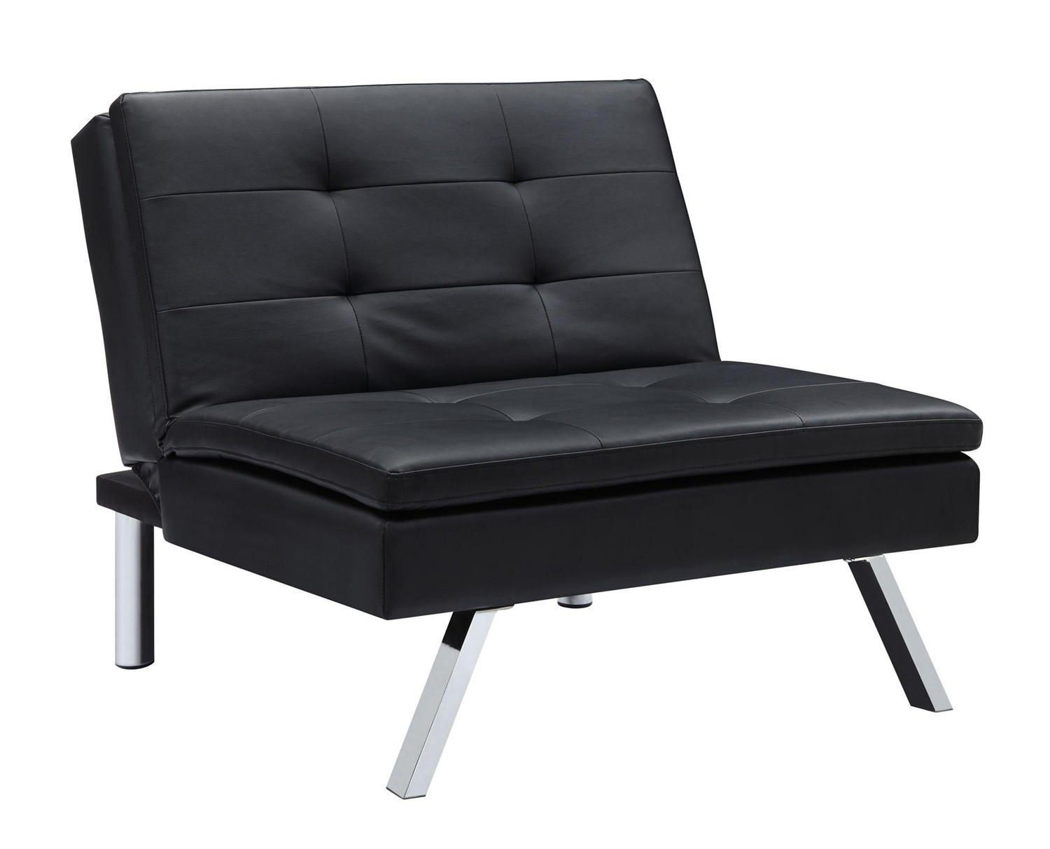 DHP Chelsea Black Faux Leather Convertible Chair