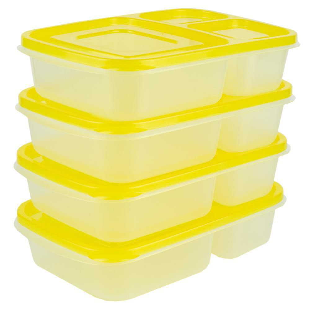 Home Basics 3 Section Plastic Food Storage Containers ...