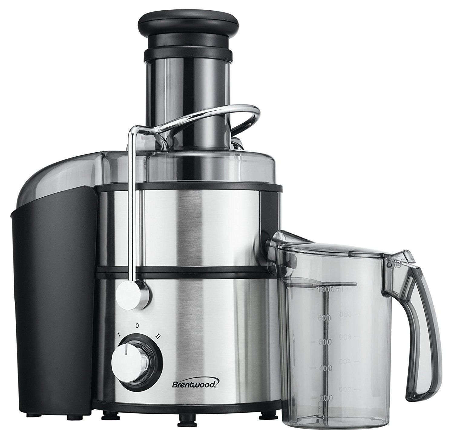 Black and stainless steel Brentwood JC-500 800W juicer - best juicer overall