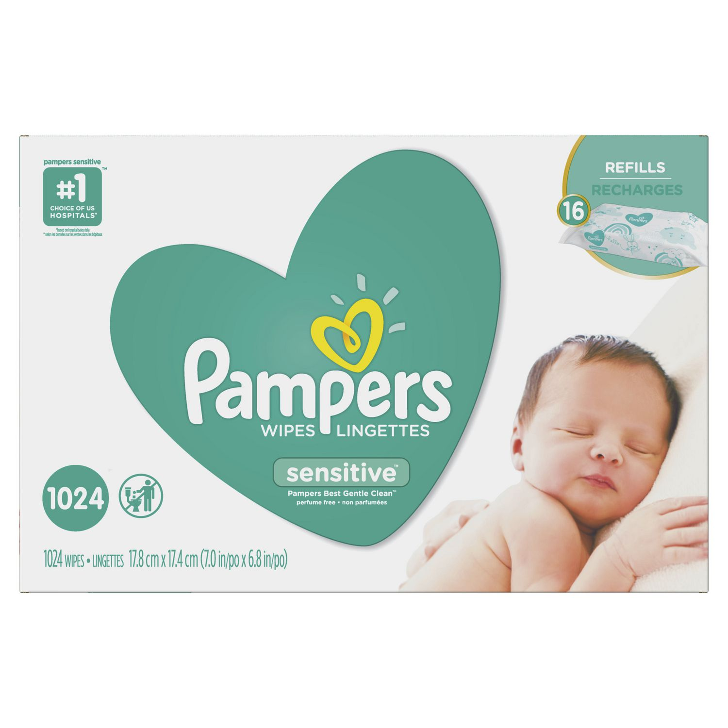 Pampers Baby Wipes Sensitive 16x Refill 1024 Count