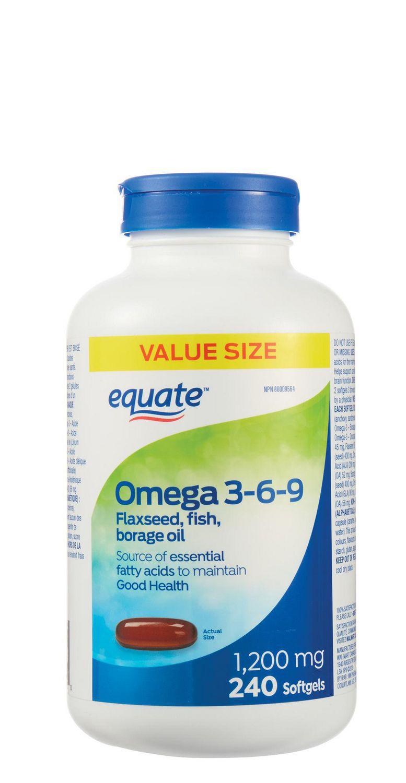 Equate Omega 3 6 9 1200mg Flaxseed Fish Borage Oil Walmart Canada