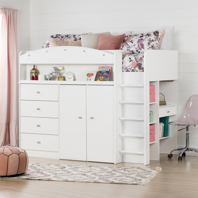 South Shore Tiara White Twin Loft Bed With Desk 39 Walmart Canada