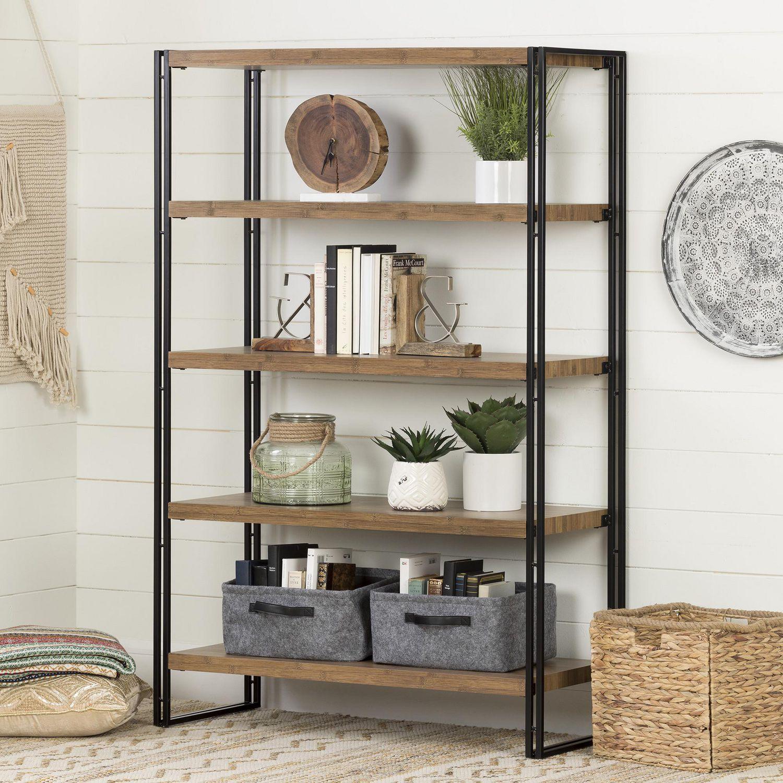 cheap for discount 3aa44 10be0 South Shore Gimetri 5 Fixed Shelves - Shelving Unit, Rustic Bamboo