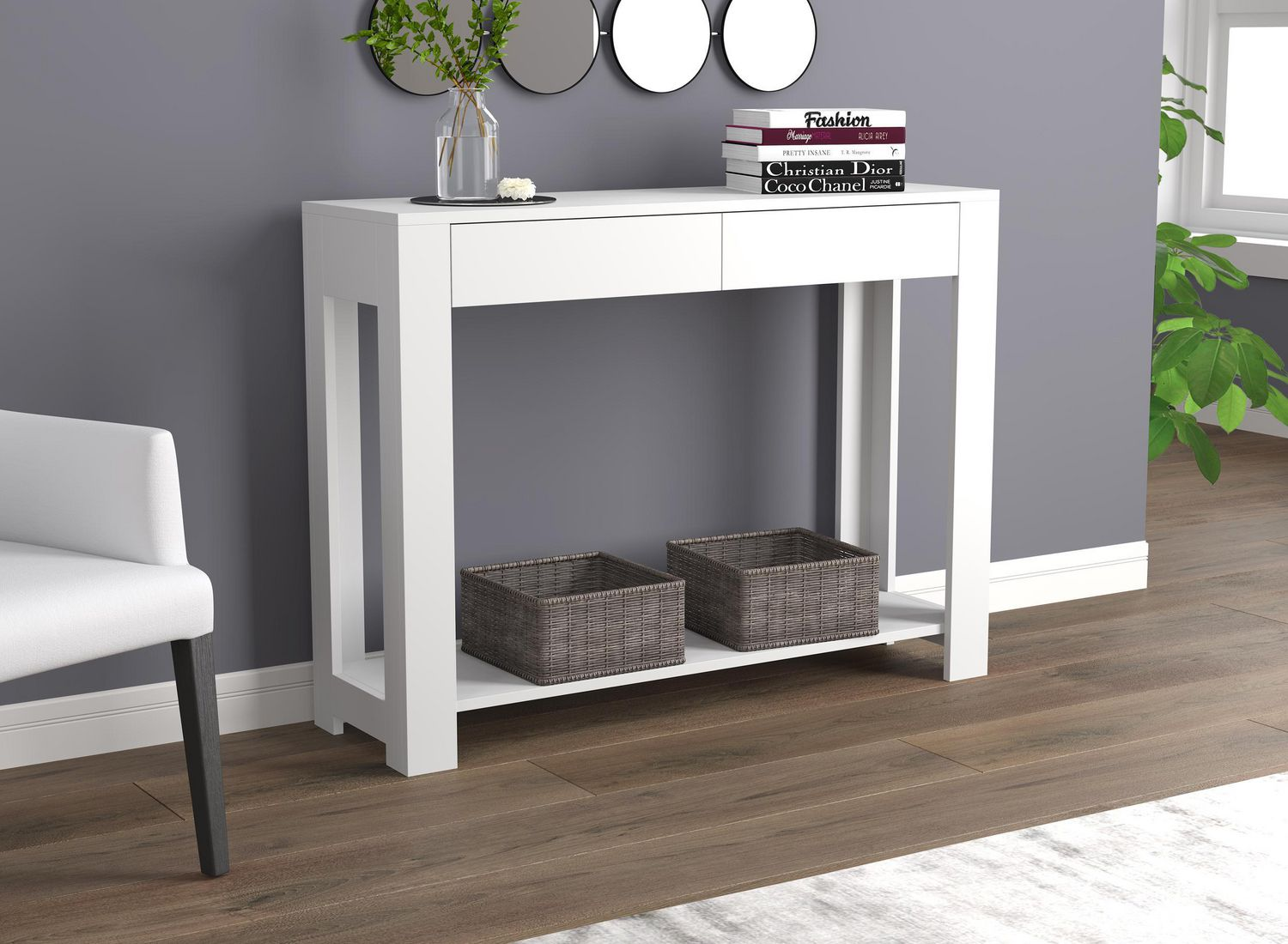 "Safdie & Co. Console Table 7"" White With 7 Drawers"