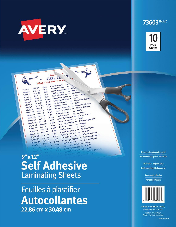 9 X 12 Avery Self-Adhesive Laminating Sheets Permanent Adhesive 50 sheets