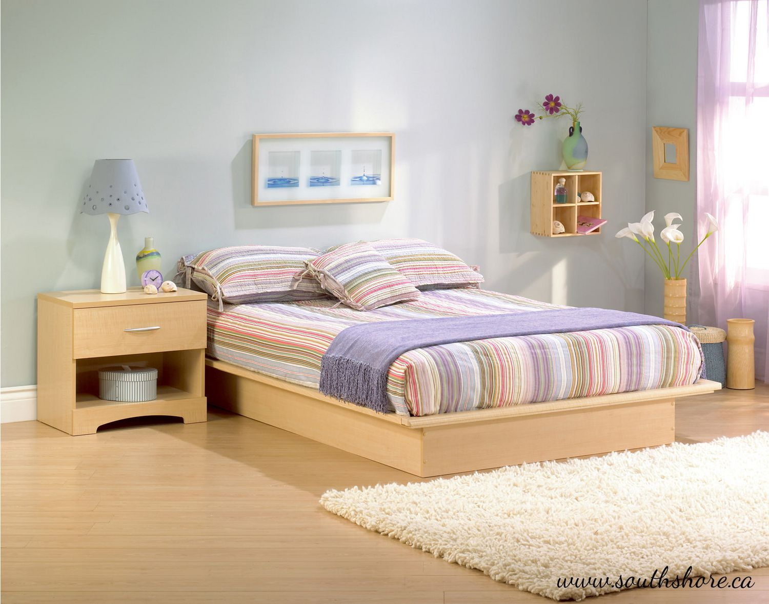 Light Maple Bedroom Furniture South Shore Soho Collection Queen Platform Bed Walmartca