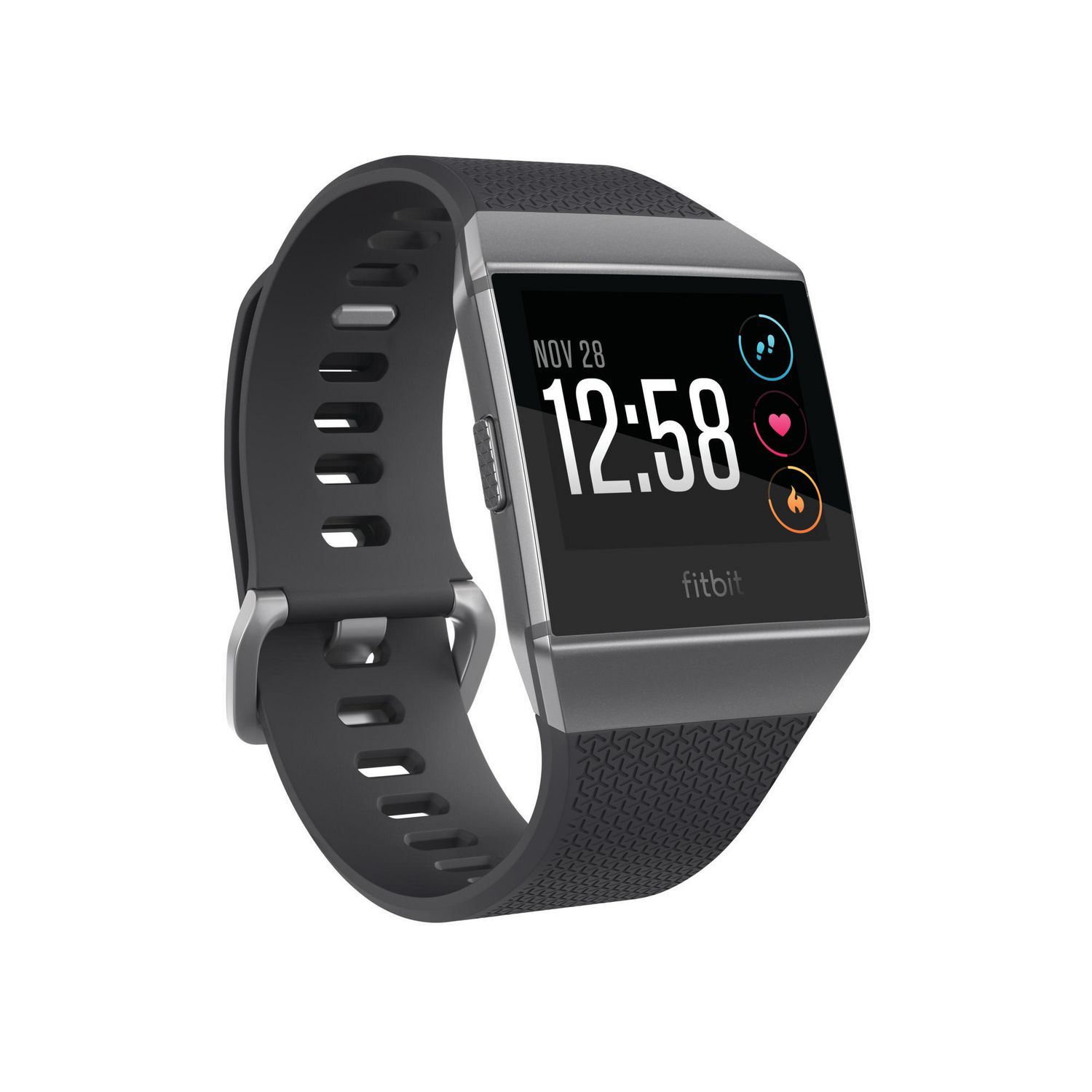 Fitbit Ionic smartwatch with grey aluminum case and rubber black band - best Fitbit for swim tracking
