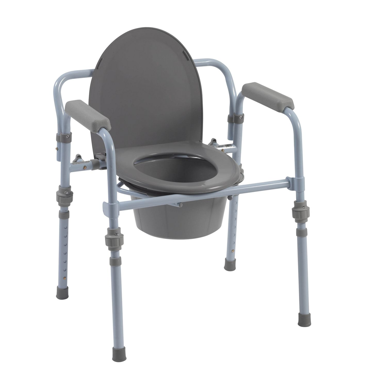 Drive Medical Folding Bedside mode with Bucket and Splash Guard