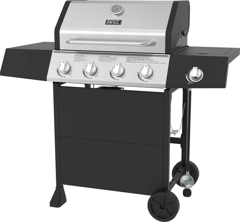Backyard Grill 4 Burner Propane BBQ with Side Burner- 720 ...