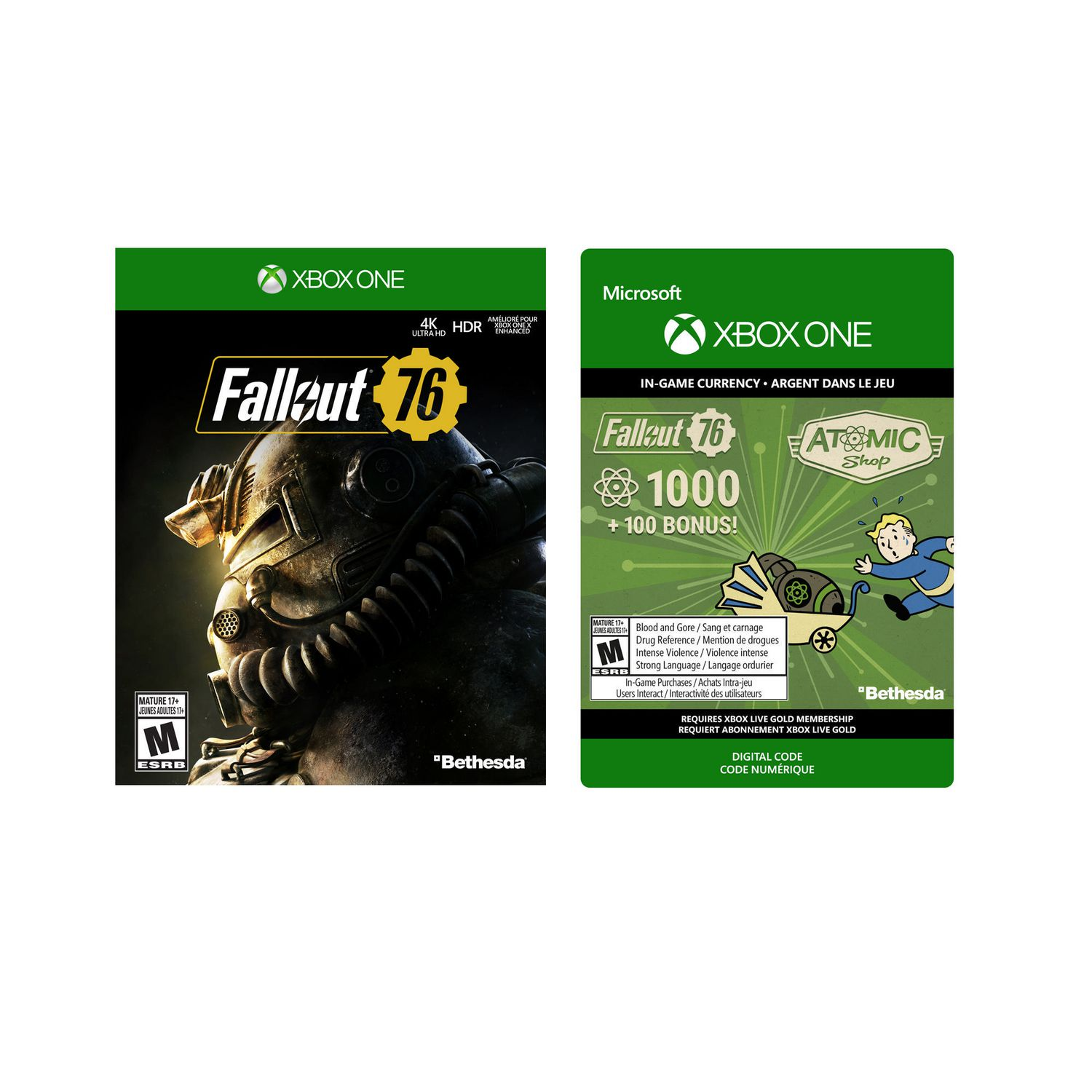 Fallout 76 [Xbox One] with Xbox One Fallout 76: 1000 (+100 Bonus) Atoms  [Download]