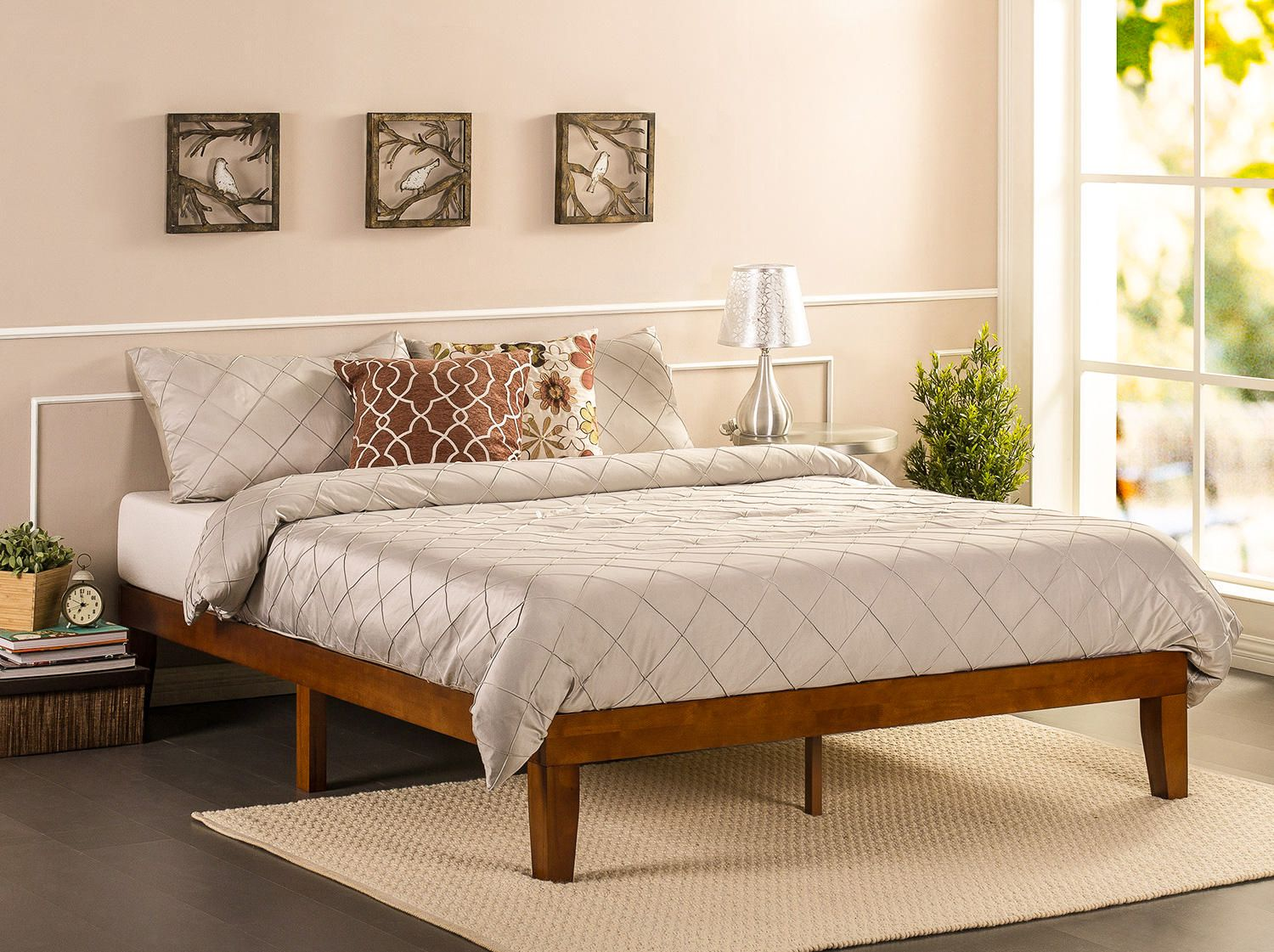 Picture of: Zinus Solid Wood 12 Platform Bed Mattress Foundation Wood Slats Easy Assembly Cherry Finish Walmart Canada