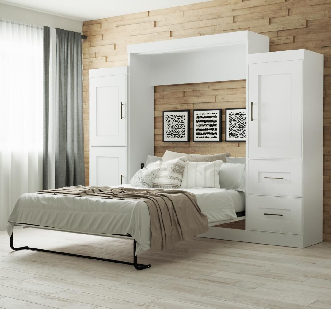 Picture of: Edge By Bestar Queen Wall Bed With Two 25 Storage Units In White Walmart Canada