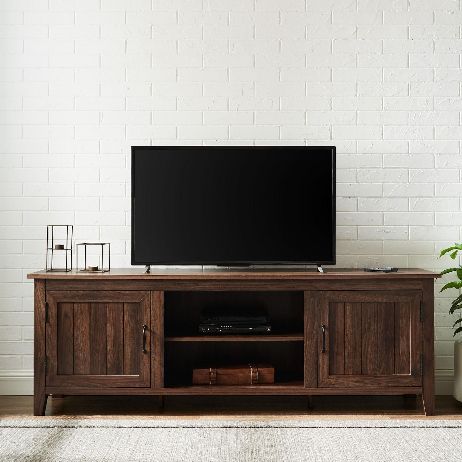 Modern Farmhouse Tv Stand With 2 Doors For Tv S Up To 78 Dark Walnut Walmart Canada
