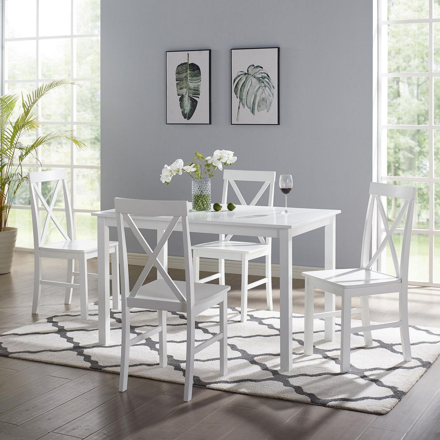 4 Person Modern Farmhouse Dining Table And Chair Set White White Walmart Canada