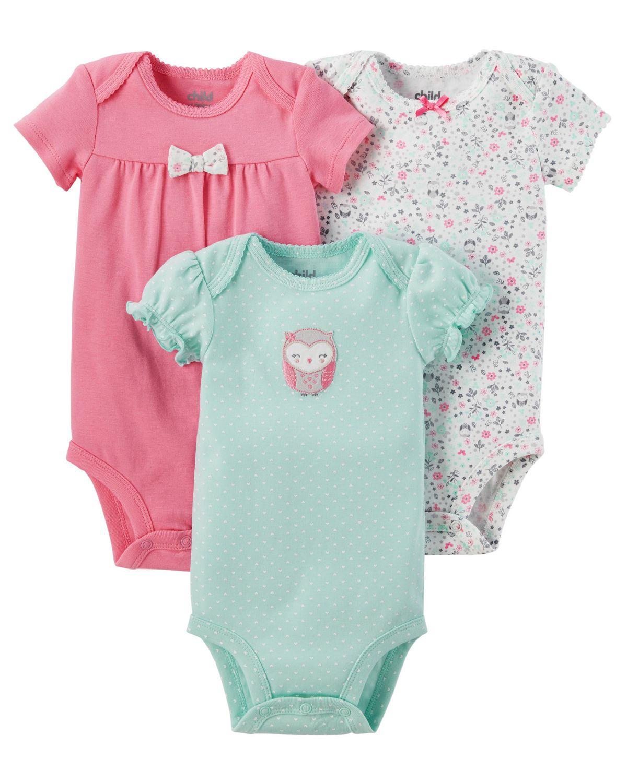 705862f213 Child of Mine made by Carter s 3Pack Newborn Girls Bodysuits -Owl ...
