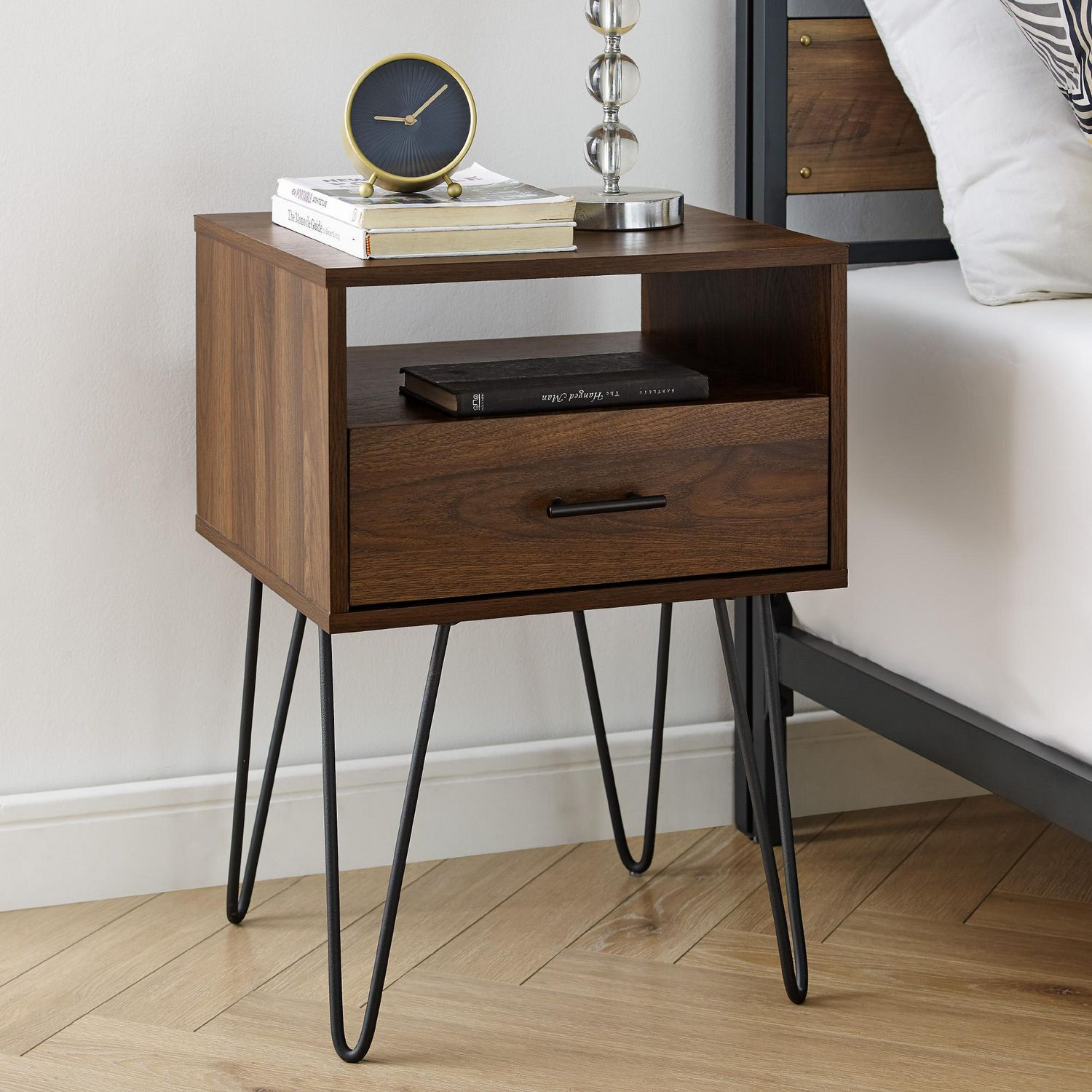 Image of: Mid Century Modern Side Table And Nightstand With Storage Drawer Dark Walnut Walmart Canada