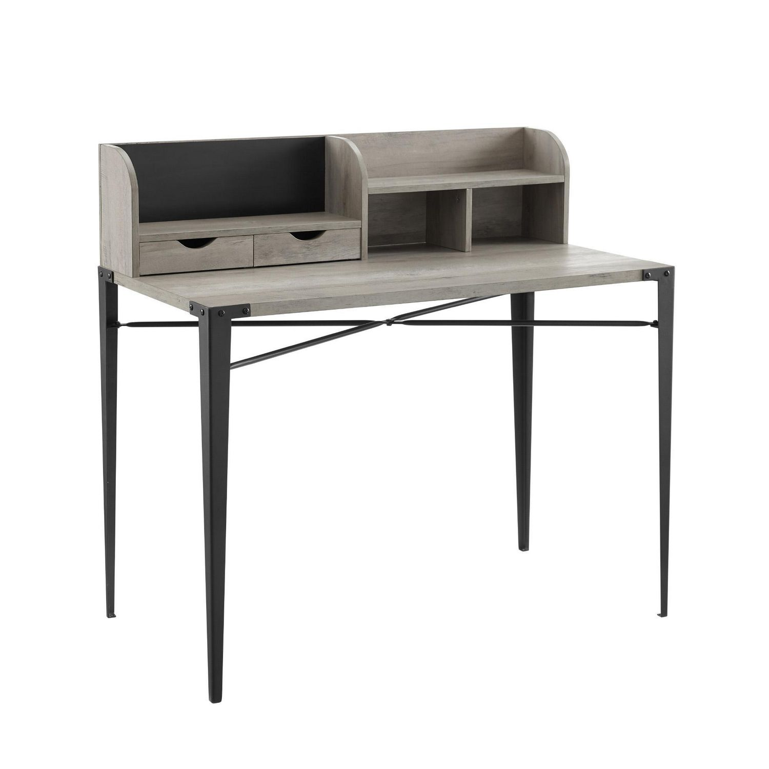 - Industrial Secretary Writing And Computer Desk With Hutch - Grey
