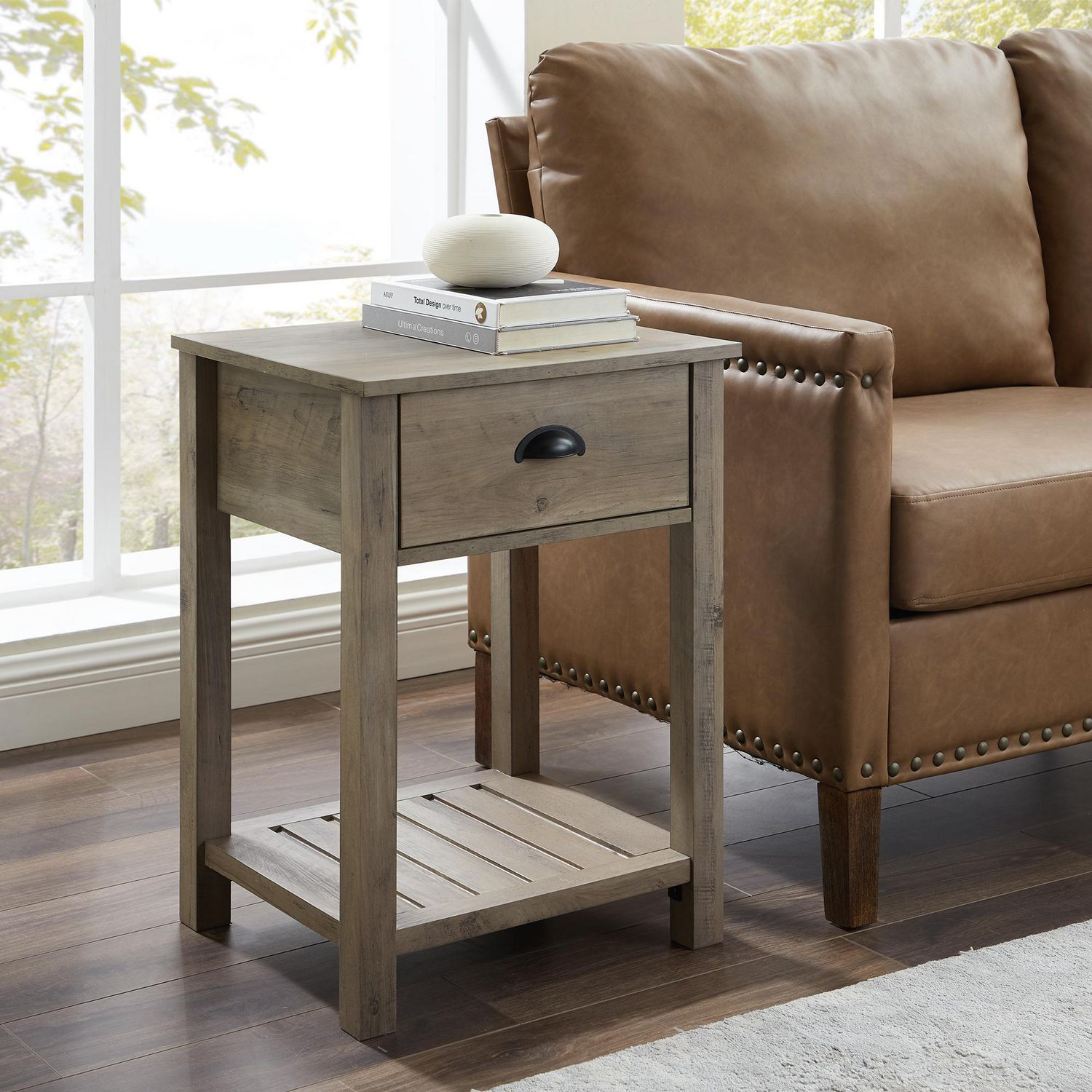 Country Farmhouse Side Table And Nightstand With Storage Drawer Grey Wash Walmart Canada