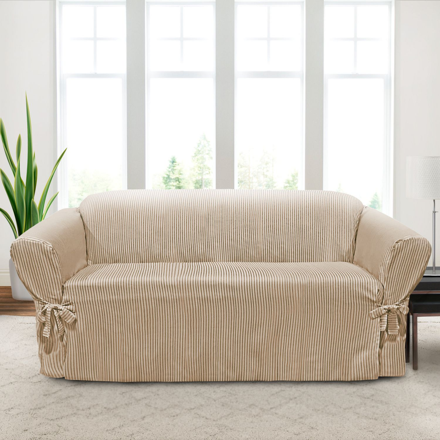 Sure Fit Muskoka Stripe Relaxed Fit Sofa Slipcover