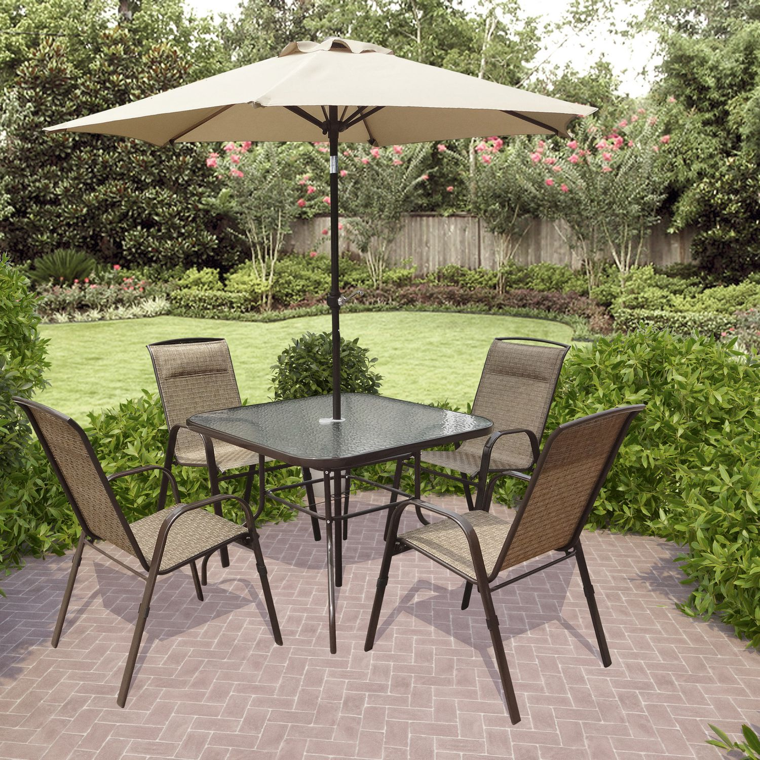Beautiful CorLiving PZT 626 S Tilting Umbrella Patio Dining Set
