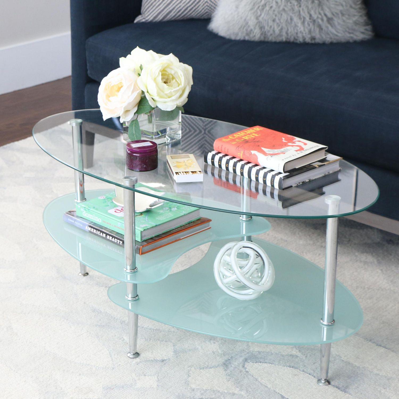 Manor Park Modern Oval Glass Coffee Table Walmart Canada