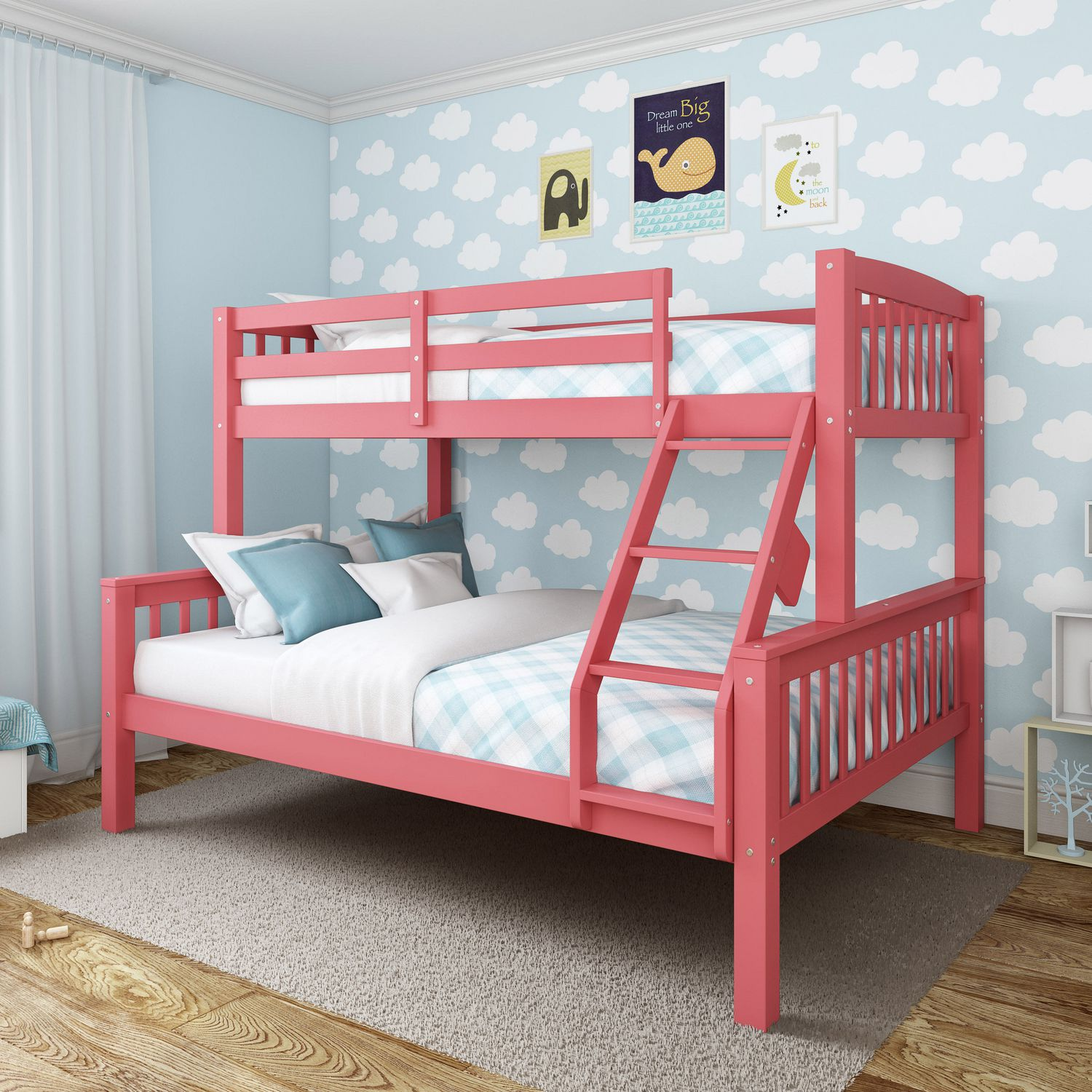 Picture of: Corliving Dakota Single Over Double Pink Painted Wood Bunk Bed Walmart Canada