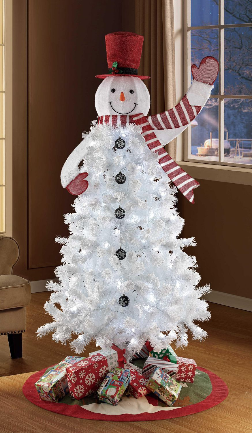 Holiday Time 6 5 Pre Lit Snowman Regular Full Christmas Tree Walmart Canada